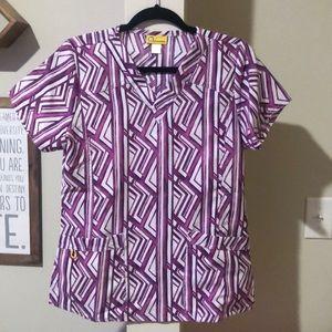 Geometric print purple Wonderwink scrub top